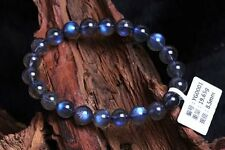 Natural Labradorite Moonstone Blue Light Transparent Beads Bracelet AAA 9 mm