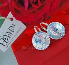 925 STERLING SILVER EARRINGS SWAROVSKI Elements RIVOLI WHITE PATINA F 14mm