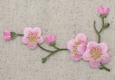 Iron On Patch Embroidered Applique Pink Flowers Cherry Blossom Green Stem Left