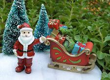 Miniature Dollhouse FAIRY GARDEN Figurine North Pole CHRISTMAS Santa with Sleigh