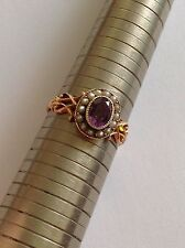 Charming Victorian 9ct Rose Gold Amethyst & Seed Pearl Set Cluster Ring