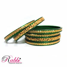 Rabbi Combi plasto Gold Plated Green 6 pc indian bangles set ethnic Fashion 2.4
