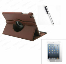 360° BROWN  Rotating iPad MINI 2 3 SMART Leather Cover Case + Protector + Stylus