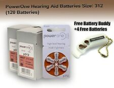 120 PowerOne Hearing aid Batteries Size 312  + Free Keychain/4 Extra Batteries