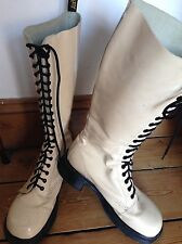 Dr Martens UK 8 Vintage Ivory Patent Leather 20 Hole Boots Skater Steampunk