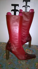River Island Red Leather Boots with Snakeskin Size 8