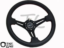 "NRG STEERING WHEEL 350MM SPORT 2"" DEEP BLACK LEATHER W/ RED STITCHING ST-018R"