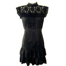 Lipsy Gothic Victorian Lace Silky Party Size 10 Black Dress Vintage Rare