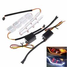 2x 8LED Flexible Headlight Strip Light Tear Eye Turn Switchback Lamp White/Amber
