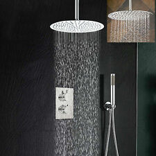 """Thermostatic Mixer Shower Valve 16""""stainless steel Rain Shower Head Faucet Sets"""