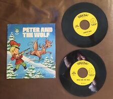 """Peter and the Wolf & Puff The Magic Dragon 45 RPM Record Peter Pan 7""""  Set"""