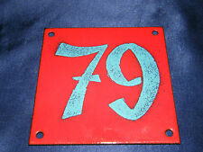EMAILLE Nr. 79 12x12cm EMAIL HAUS SCHILD HAUSNUMMER PARZELLE SCHREBERGARTEN