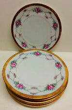 "6 Hand Painted Pink Floral Gilded Porcelain Plates, Antique China  7 1/2""D"