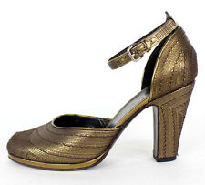 JIL SANDER Bronze Embroidered Leather Ankle Strap Pumps 37.5