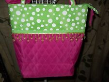 PINK, GREEN, AND WHITE POLKA DOTS TOTE BAG AND CASE