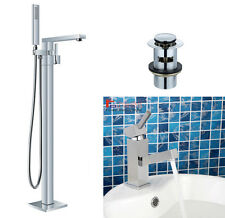 Square Freestanding Bath Shower Mixer&Bathroom Pull Out Basin Mixer Taps & Waste