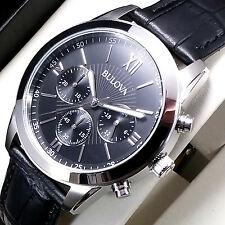 NEW £199 BULOVA MENS CHRONOGRAPH WATCH STAINLESS STEEL BLACK LEATHER