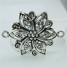 14635 10PCS Alloy Antique Silver Vintage Nice Flower Plant Pendant Connector