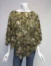 Marc New York Andrew Mark Tan & White Faux Fur Poncho Sz L/XL NWT