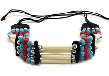 Handmade Native American Style 4 Line Buffalo Bone Hairpipe Choker Necklace