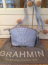 EYE CATCHING BRAHMIN LIGHT BLUE MOCK CROC PRINT MESSENGER BAG BNWT SLIGHT DEFECT