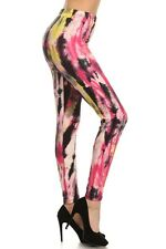 Buttery Super Soft One Size 2-14 High Waist Leggings MULTI PINK TIE DYE STYLE12