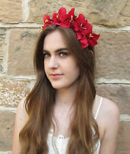 Red Orchid Flower Headband Hair Crown Headpiece Festival Floral Boho Vintage Z98