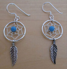925 Sterling Silver Turquoise Stone, Feather, Spider Web Dream Catcher Earrings