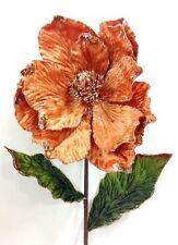 """Magnolia Stem. 28"""" Tall. Apricot Velvet~Glitter. Artificial"""