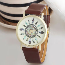 Vintage Feather Dial Leather Band Quartz Analog Unique Women Wrist Watches Brown