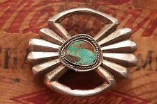 Vtg Native American Hand Made Sterling Silver Cast Turquoise Western Belt Buckle