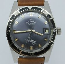 VINTAGE Paul Garnier 37mm Steel Mens Skin Divers Automatic Watch = GREAT DIAL