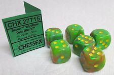 *SIX* 16mm DICE - CHX VORTEX SLIME w/YELLOW PIPS - NEW COLOR IN VORTEX SERIES!