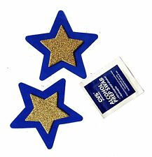 LINGERIE NIPPLE COVER 3D Gold Glitter Star on Blue Star Pasties retail $8.95