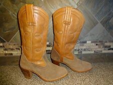 Vintage Womens DEXTER Sz 6.5M Tan Leather & Suede Cowboy Boots Stacked Heels