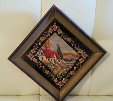 Vintage Custom Framed Completed Needlepoint Needlework House Scene