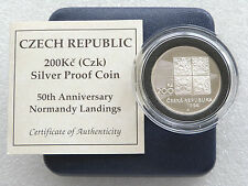 1994 Czech Republic Normandy Landings 50th Anniv 200KC Silver Proof Coin Box Coa
