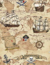 Timeless Treasures C4825 Tan Pirate Map and Ship COTTON FABRIC BTY