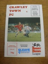 05/09/1992 Crawley Town v Solihull Borough  . Item appears to be in good conditi