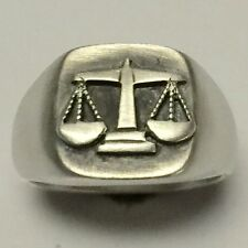 MJG STERLING SILVER SCALES OF JUSTICE RING. LAWYER. PARALEGAL. SIZE 10 1/4