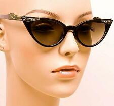 Vintage Pin Up Cat Eye Black Gold Crystals Rockabilly Fashion Sunglasses 1317 IT