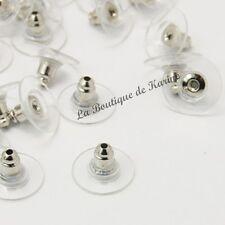 30 EMBOUTS FERMOIRS BOUCLES D'OREILLES ARGENTE PLASTIQUE - CREATION BIJOUX PERLE