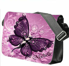 Personalised School / College / Large Messenger Bag Add a Name Purple Butterfly