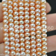 """7-8mm Pink Freshwater Cultured Pearl Roundel Shape Gemstone Loose Beads 15"""" AAA"""