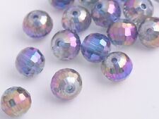 30pcs 8mm 96Facet Round Faceted Crystal Glass Loose Beads Purple Colorized