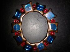 BRACELET STAR SHAPED -(BLUE) WITH RAINBOW RED BEADS - (53)