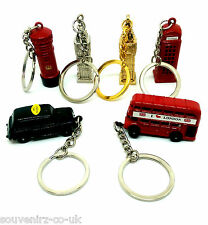 6 London Metal Keyrings Miniature UK Souvenir Bus Taxi Postbox Telephone Big Ben