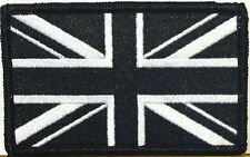 UNITED KINGDOM UK Flag Patch With VELCRO® Brand Fastener B & W / Black Border #3