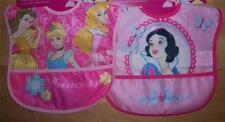 2 NEW WATERPROOF PRINCESS POCKET BIBS,  Baby Shower