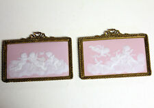Camille Tharaud Limoges France Pate-sur-pate Plaques Pink Cherub Bronze Set Lot